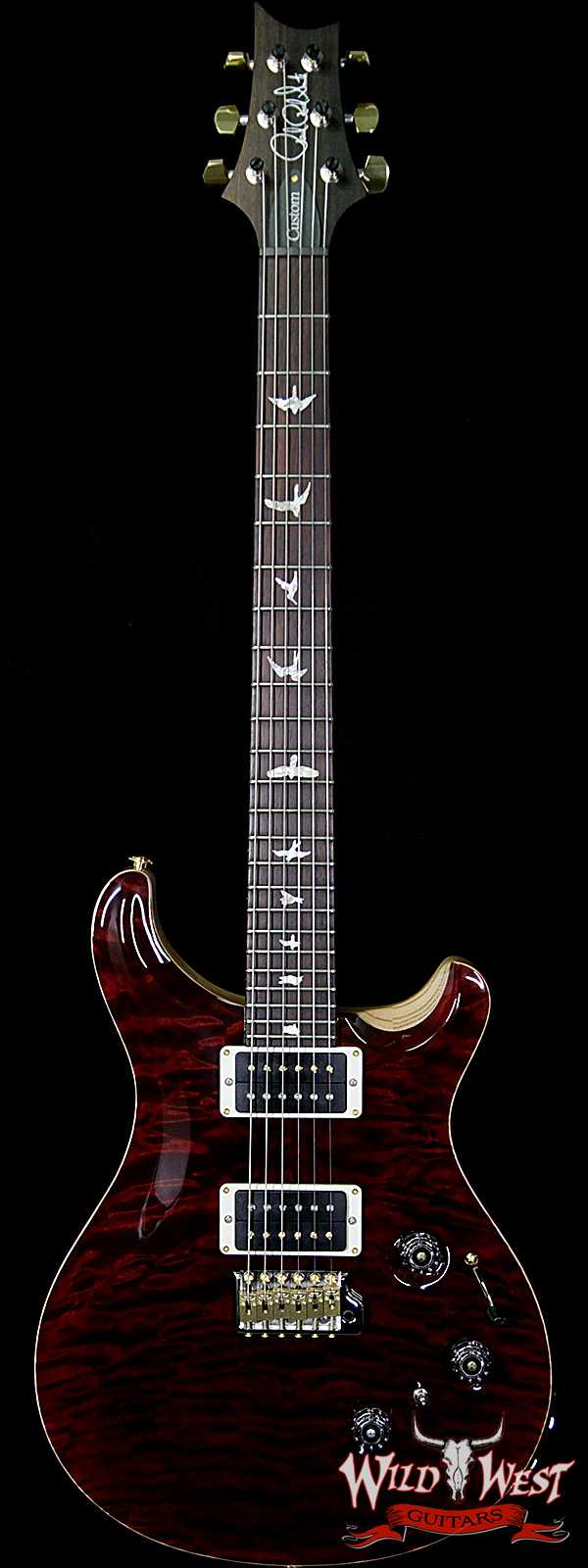 PRS Wood Library 10 Top Custom 24 Piezo Quilt Maple Top Flame Neck Brazilian Rosewood Fretboard Red Tiger