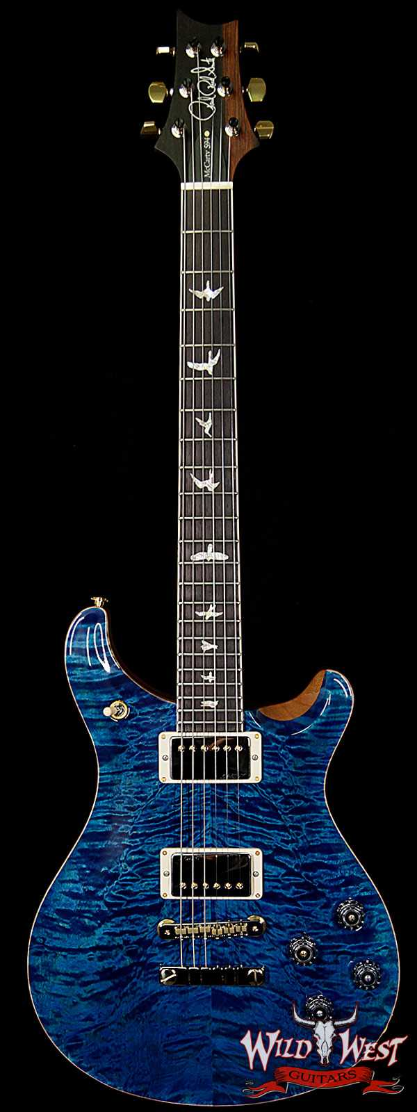 PRS Wood Library 10 Top Quilt Top McCarty 594 Flame Maple Neck Brazilian Rosewood Board Aquamarine