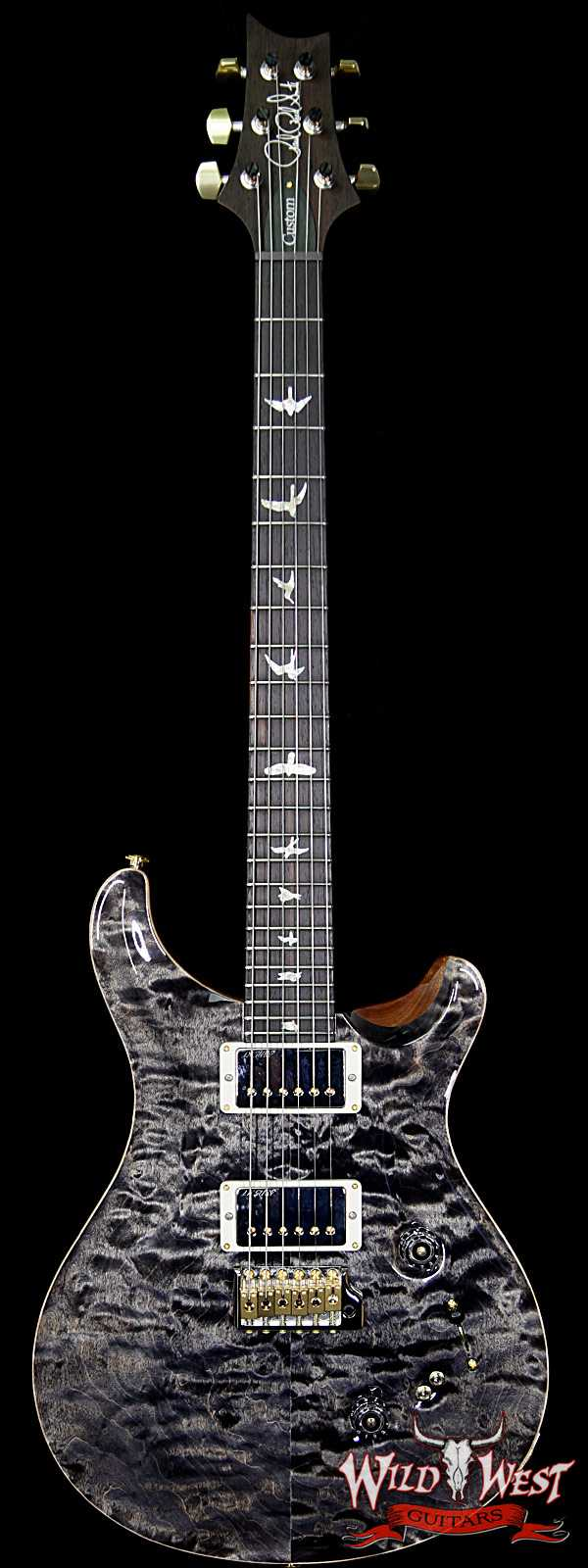 PRS Wood Library Quilted 10 Top Custom 24/08 Flame Maple Neck Brazilian Rosewood Fretboard Charcoal