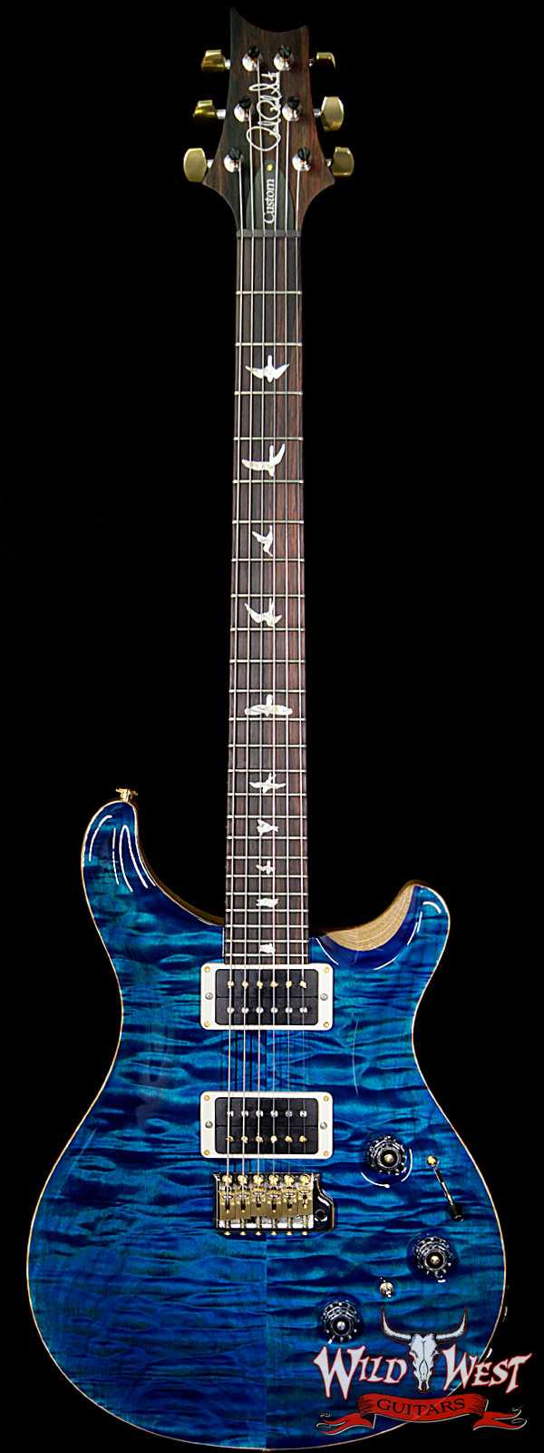 PRS Wood Library 10 Top Custom 24 Piezo Quilt Maple Top Flame Neck Brazilian Rosewood Fretboard Aquamarine