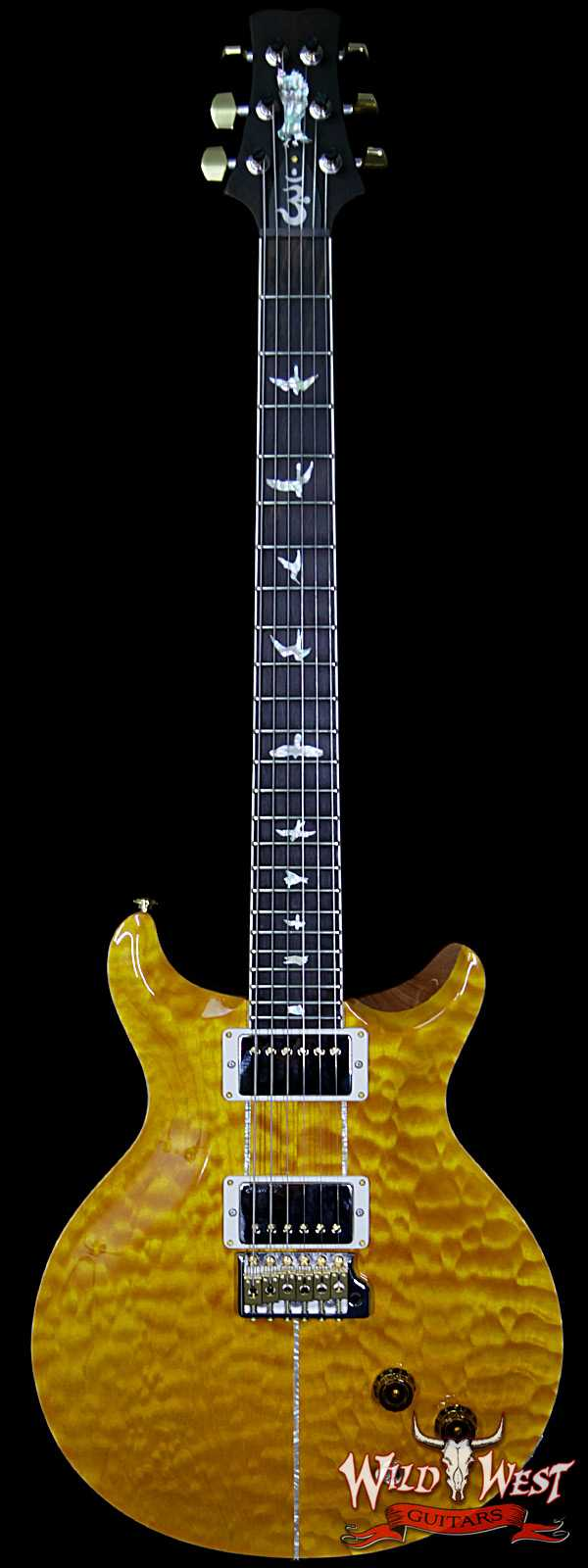 PRS Wood Library Santana Retro Quilt Top Flame Mahogany Neck Brazilian Rosewood Board Santana Yellow