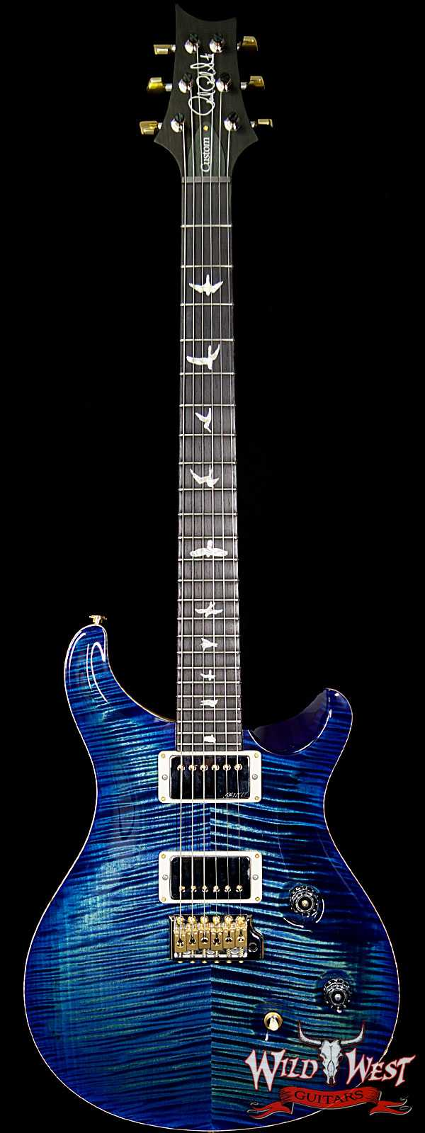 PRS Wood Library Artist Package Custom 24 Fatback Flame Maple Neck African Blackwood Board River Blue