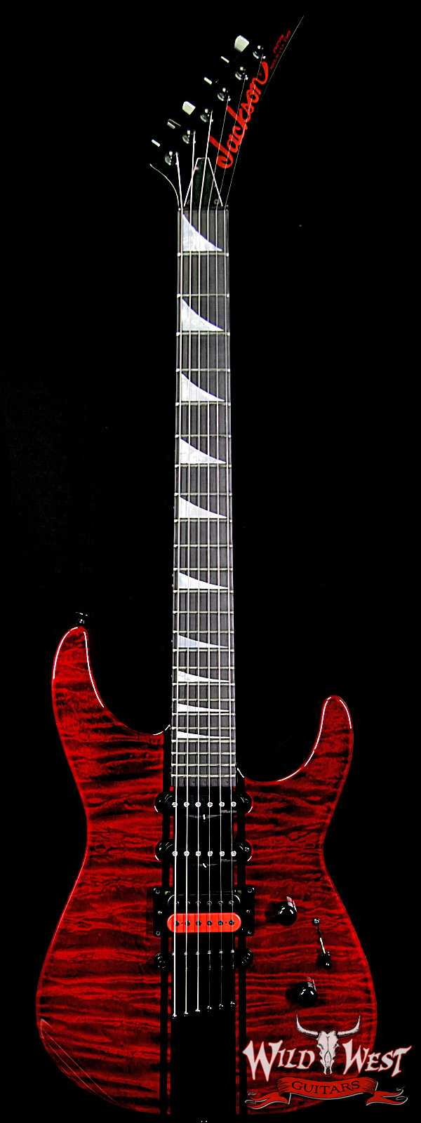Summer Event #707 Jackson Custom Shop Soloist HSS Hardtail Trans Red w/ Comp Stripes Painted by Travis Shannon