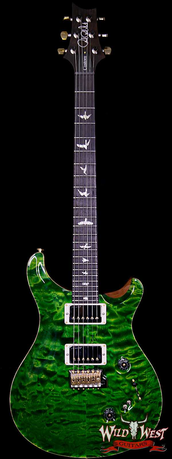 PRS Wood Library Quilted 10 Top Custom 24/08 Flame Mahogany Neck Brazilian Rosewood Fretboard Emerald