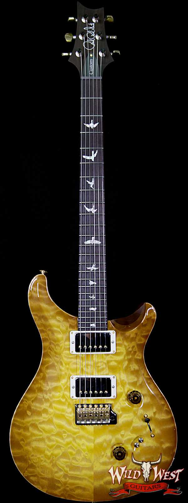 PRS Wood Library Quilted 10 Top Custom 24-08 Flame Mahogany Neck Brazilian Rosewood Board Livingston Lemondrop