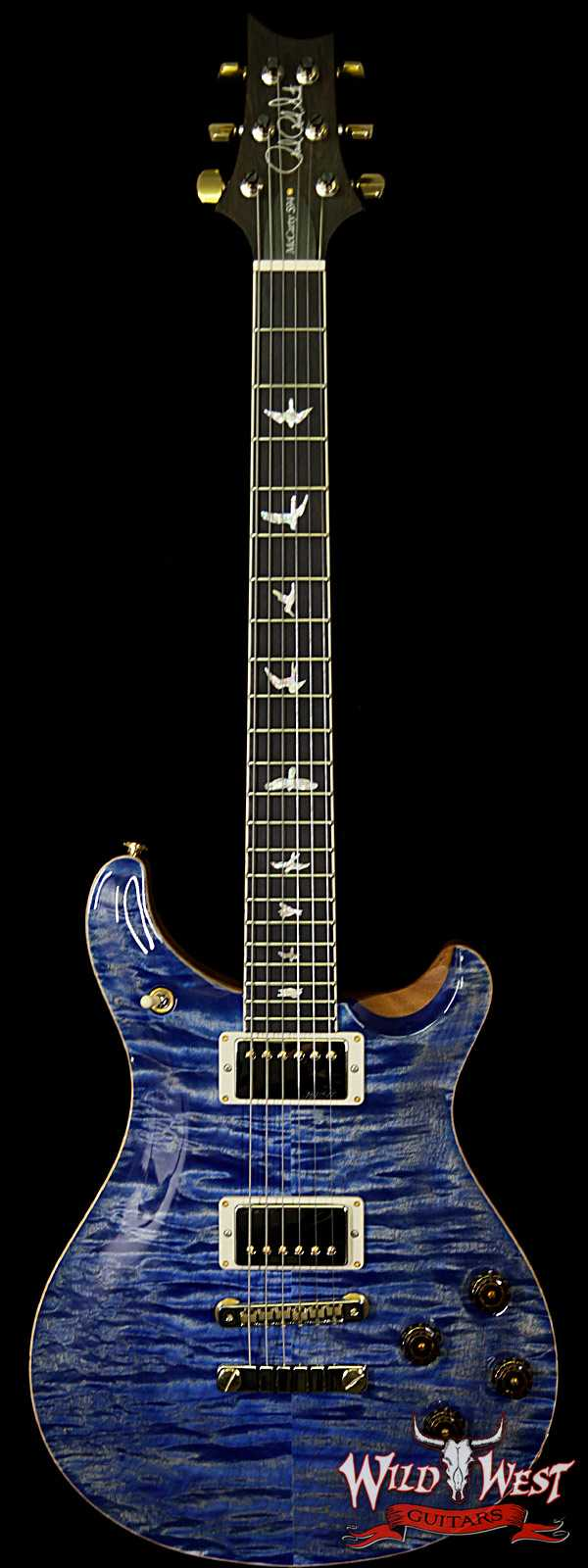 PRS Wood Library Quilt Maple 10 Top McCarty 594 Flame Mahogany Neck Brazilian Rosewood Board Faded Blue Jean