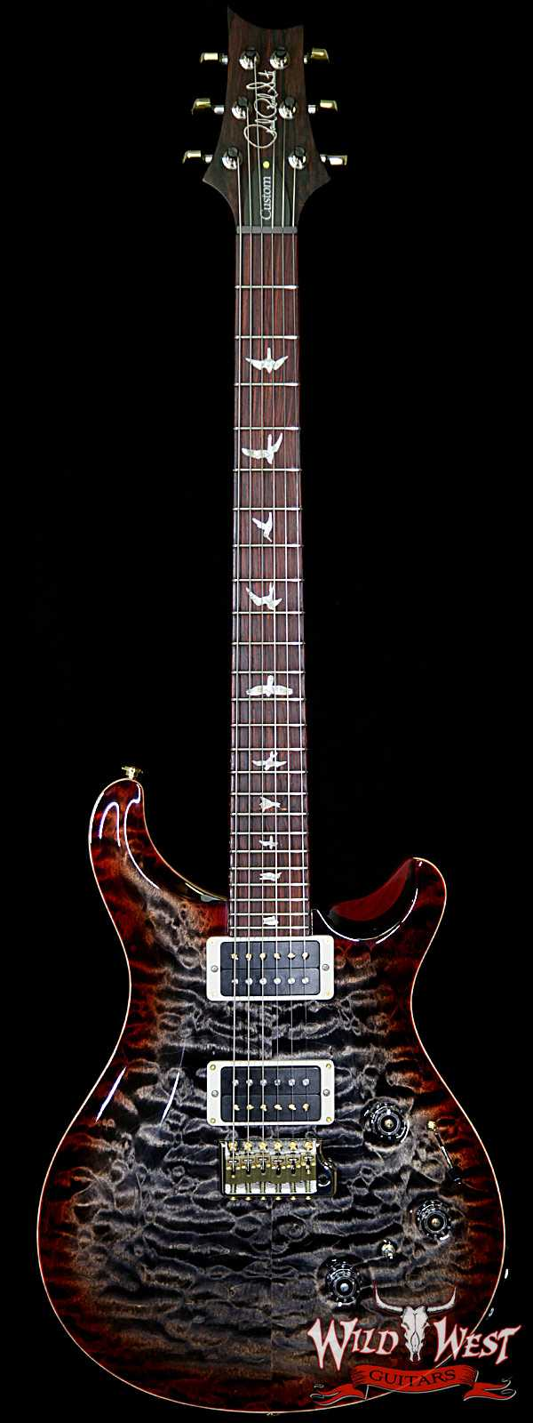 PRS Wood Library 10 Top Custom 24 Piezo Quilt Top Flame Neck Cocobolo Board Charcoal Cherry Burst