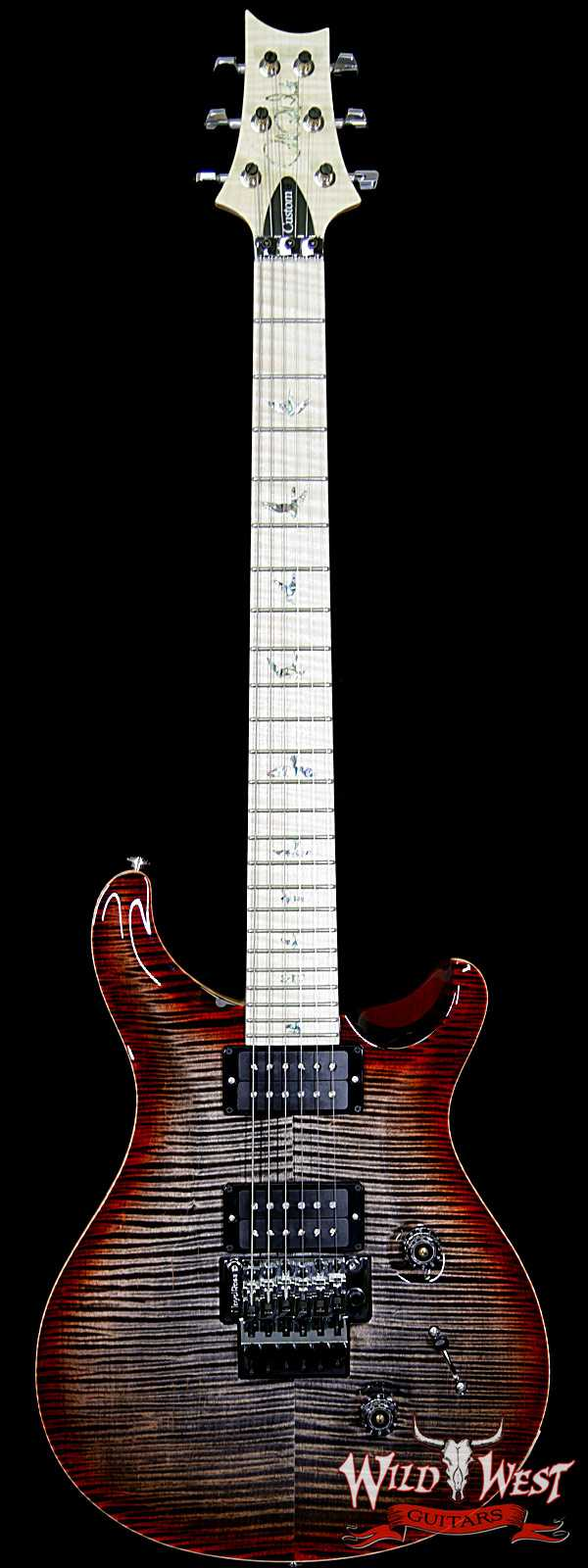 PRS Wood Library Artist Package Custom 24 Floyd Rose Flame Maple Top Neck & Board Charcoal Cherry Burst