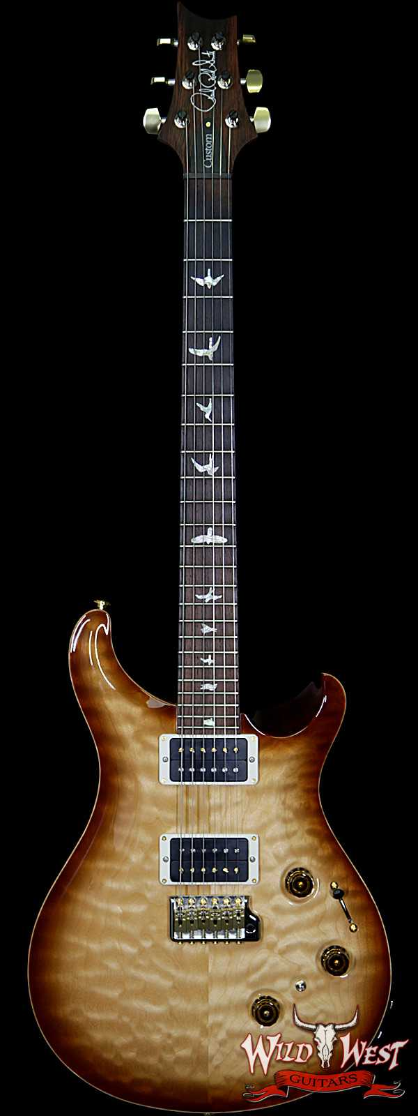 PRS Wood Library 10 Top Custom 24 Piezo Quilt Maple Top Flame Neck Brazilian Rosewood Board Natural Smoke Burst