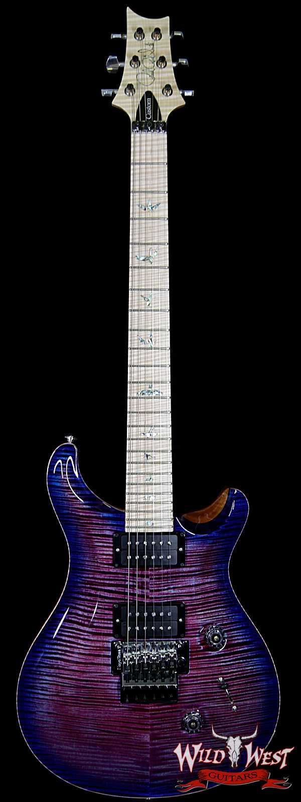 PRS Wood Library Artist Package Custom 24 Floyd Rose Flame Maple Top Neck & Board Violet Blue Burst