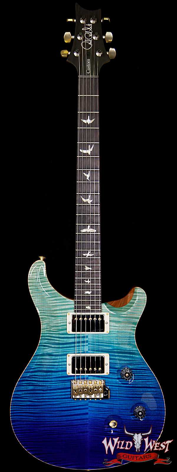 PRS Wood Library Artist Package Custom 24 Fatback Flame Maple Neck African Blackwood Board  Blue Fade