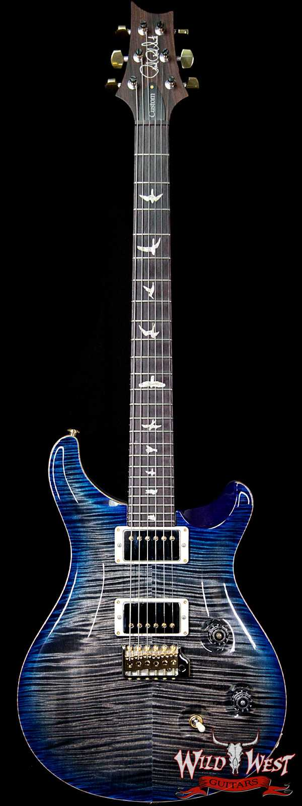 PRS Wood Library 10 Top Custom 24 Korina Neck with Cocobolo Fingerboard Charcoal Blue Burst