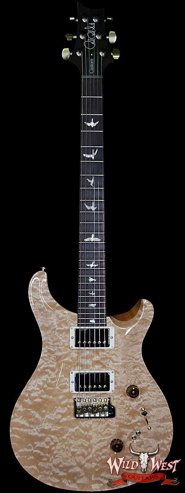 2018 PRS Wood Library Quilted 10 Top Custom 24/08 Flame Maple Neck Brazilian Rosewood Fretboard Natural