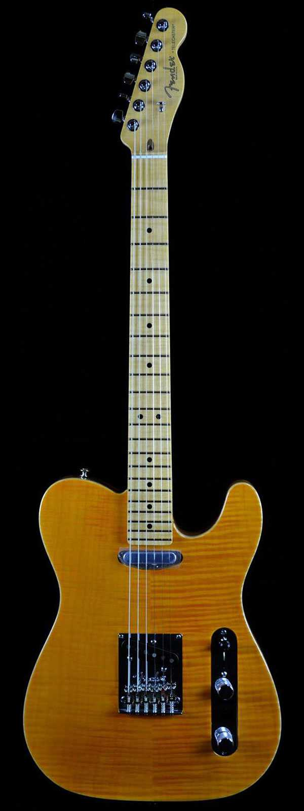Fender select carved maple top telecaster in amber wild