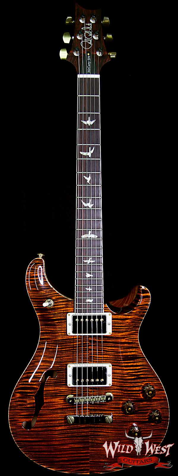 PRS Wood Library Flame 10 Top McCarty 594 Semi-Hollow Cocobolo Fingerboard Orange Tiger