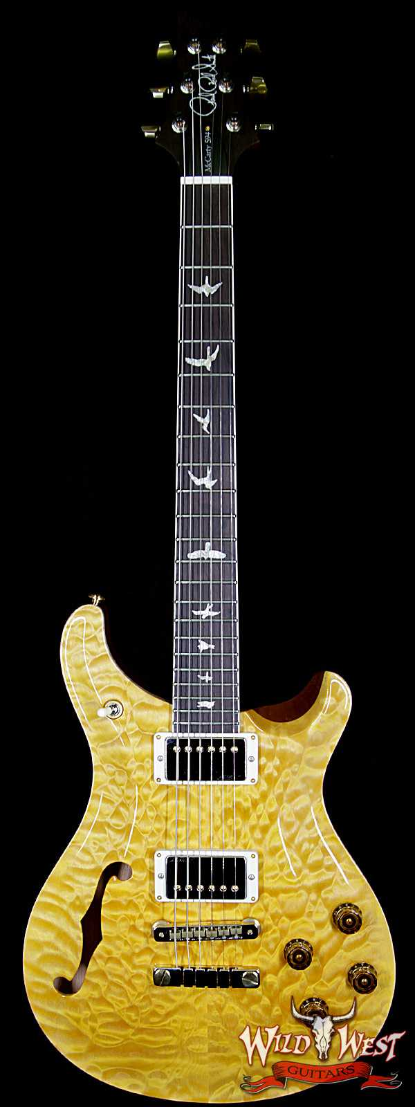 PRS Wood Library Quilt 10 Top McCarty 594 Semi-Hollow Brazilian Rosewood Board Honey