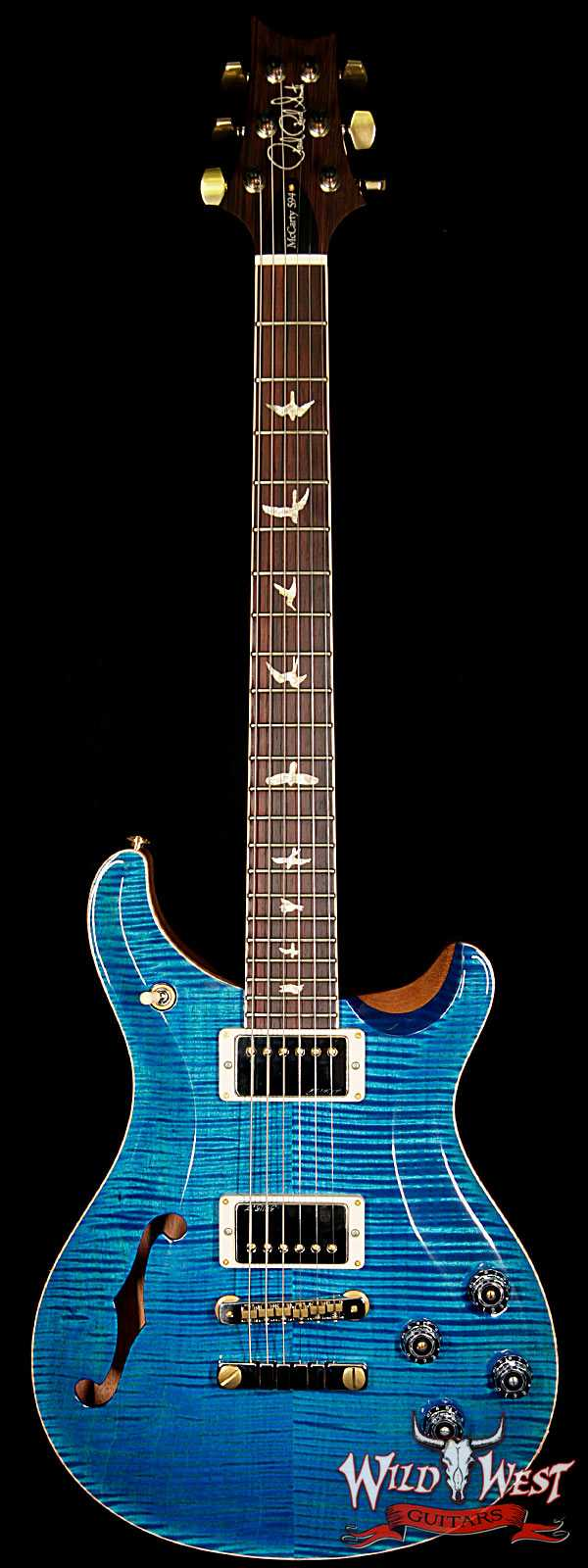 PRS Wood Library 10 Top McCarty 594 Semi-Hollow Flame Maple Top Cocobolo Fingerboard Aquamarine