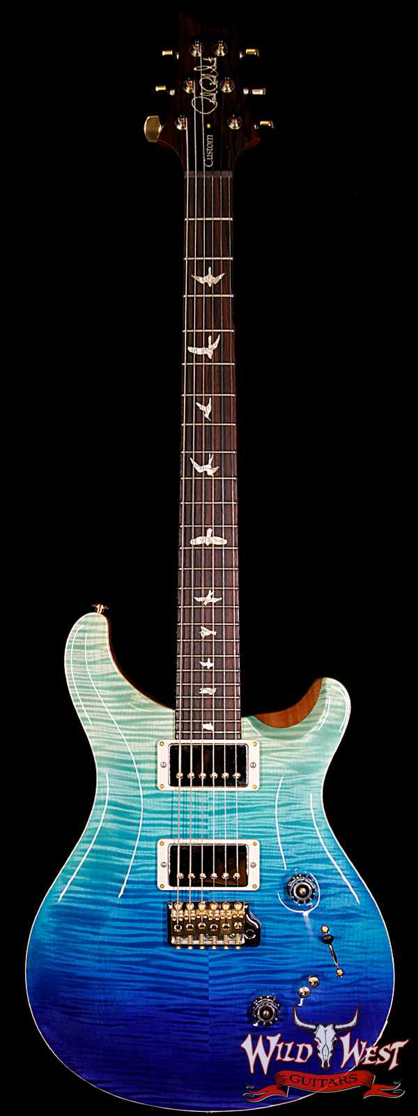 PRS Wood Library 10 Top Custom 24-08 Flame Maple Top Cocobolo Fingerboard Blue Fade