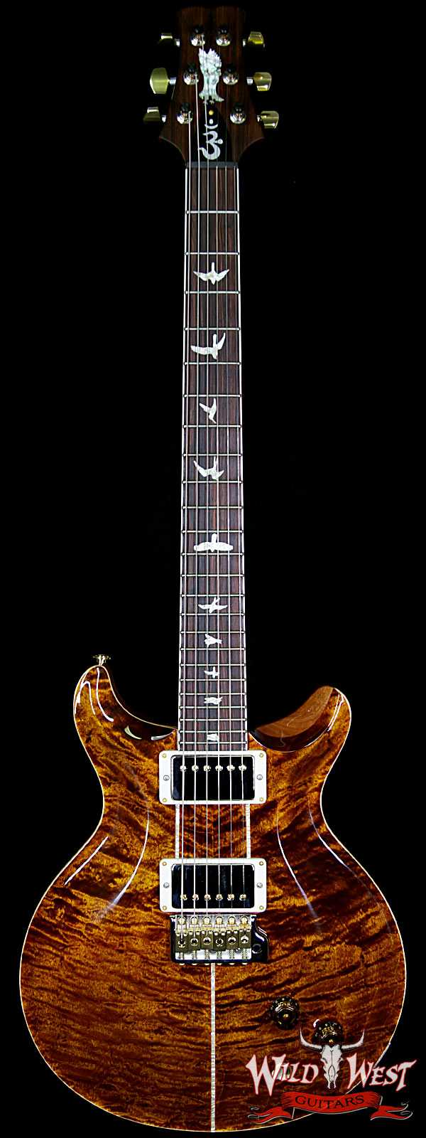 PRS Wood Library Quilt 10 Top Santana Retro Flame Mahogany Neck Cocobolo Board Yellow Tiger