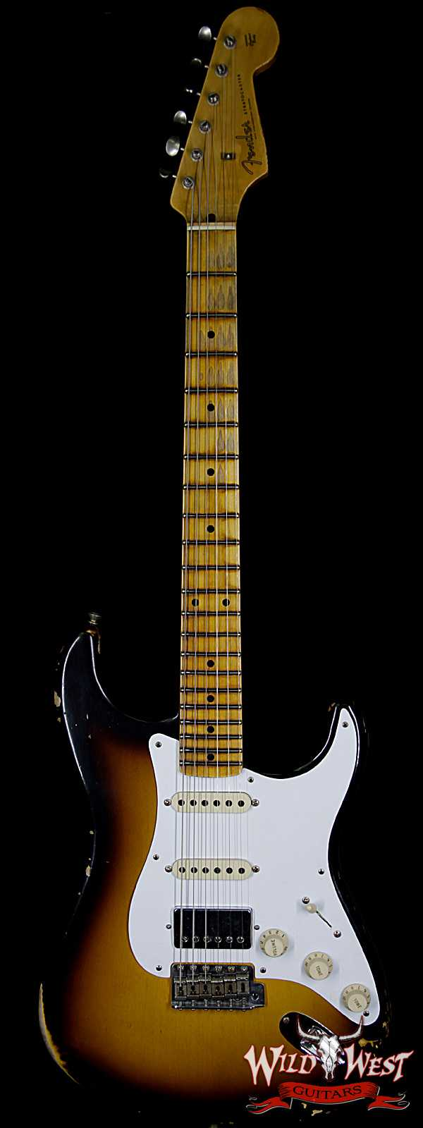 Fender Custom Shop 1958 Stratocaster EVH HSS Pickup Relic Maple Neck 2 Tone Sunburst