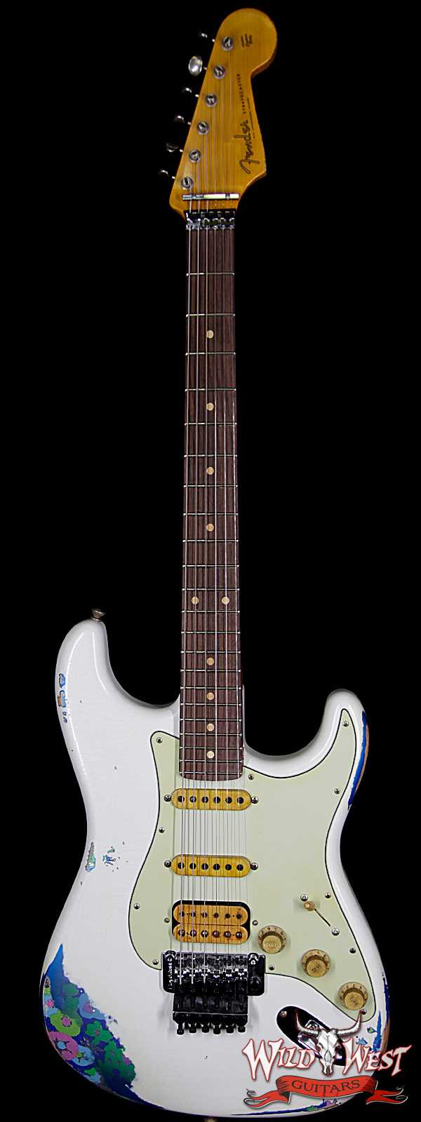 Fender Custom Shop Wild West Exclusive White Lightning Stratocaster HSS Floyd Rose Heavy Relic Rosewood Board 22 Frets Blue Flower