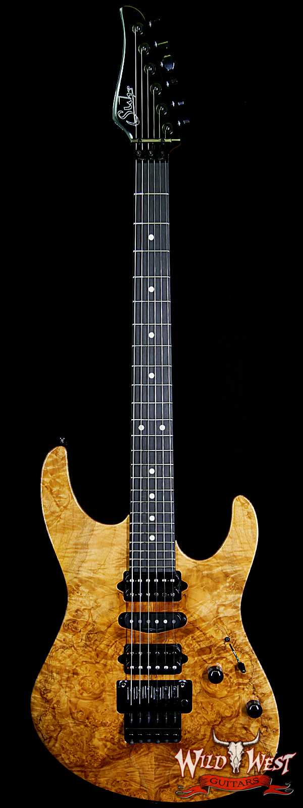 Suhr Modern HSH Floyd Hand Selected Burl Maple Top Roasted Maple Neck Ebony Board Reverse Head Natural