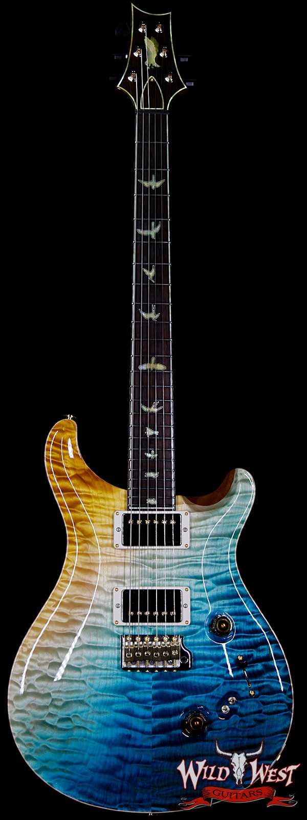 PRS Private Stock #7479 Custom 24-08 Singlecut Thickness Quilt Top Mahogany Middle Sapele Back Beach Cross Fade