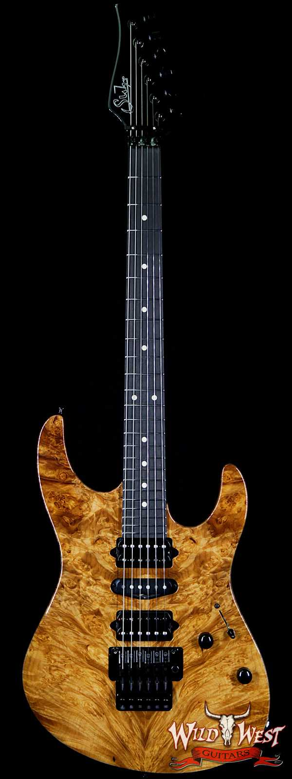 Suhr Modern HSH Floyd Hand Selected Burl Maple Top Roasted Maple Neck Ebony Fingerboard Reverse Head Natural