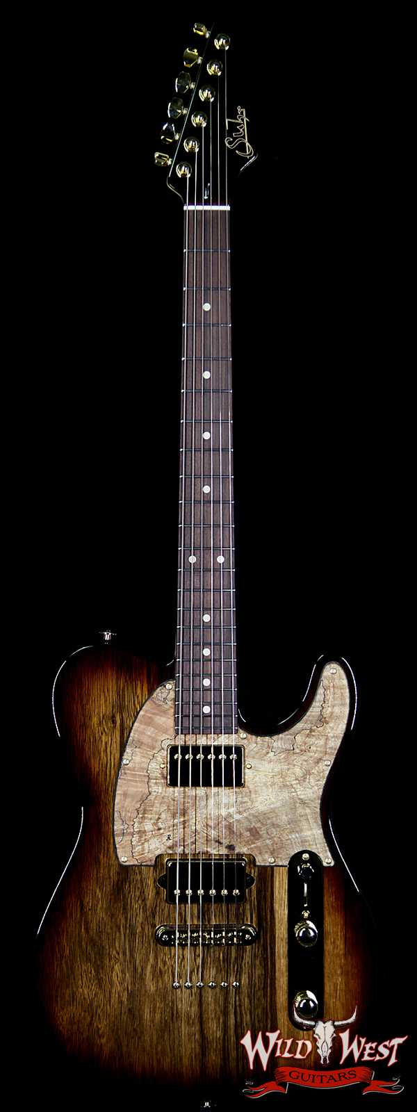 Suhr Custom Classic T HH Black Limba Body With Spalted Maple Pickguard Natural Burst