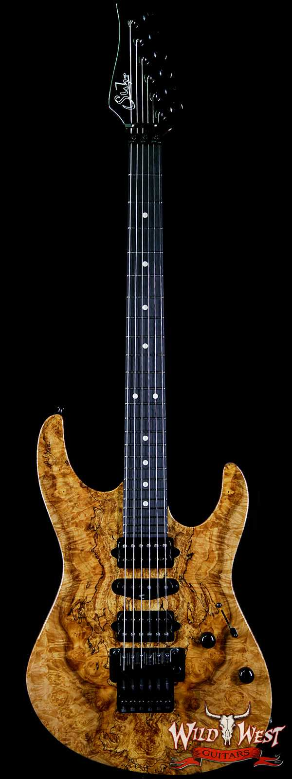 Suhr Modern HSH Floyd Hand Selected Spalted Maple Top Roasted Maple Neck Ebony Board Reverse Head Natural
