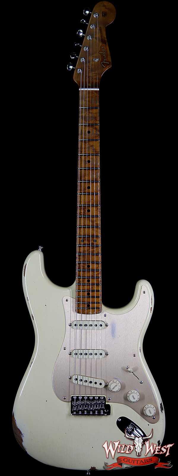Fender Custom Shop 1956 Stratocaster Relic Roasted Birdeye Maple Neck Aged Vintage White