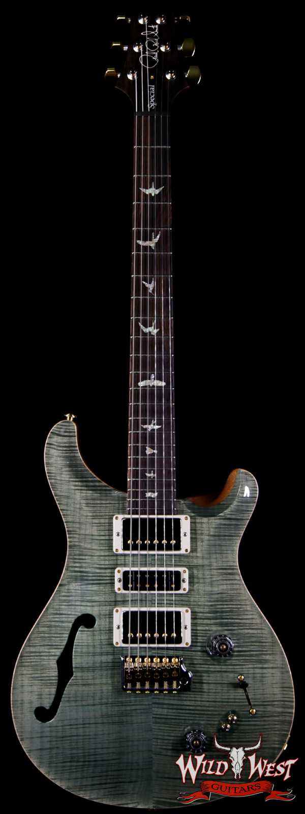 PRS Wood Library Flame 10 Top Limited Edition Special 22 Semi-Hollow Brazilian Rosewood Fingerboard Trampas Green