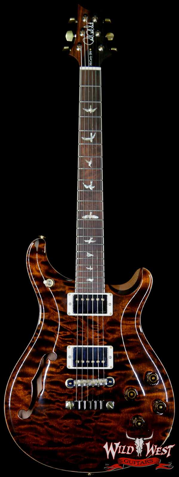 PRS Wood Library 1-Piece Quilt 10 Top McCarty 594 Semi-Hollow Brazilian Rosewood Board Orange Tiger