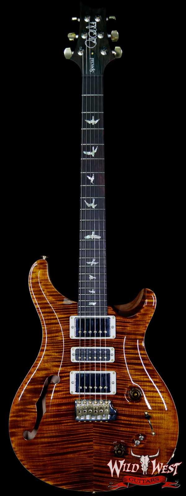 PRS Wood Library Flame 10 Top Limited Edition Special 22 Semi-Hollow Brazilian Rosewood Fingerboard Yellow Tiger