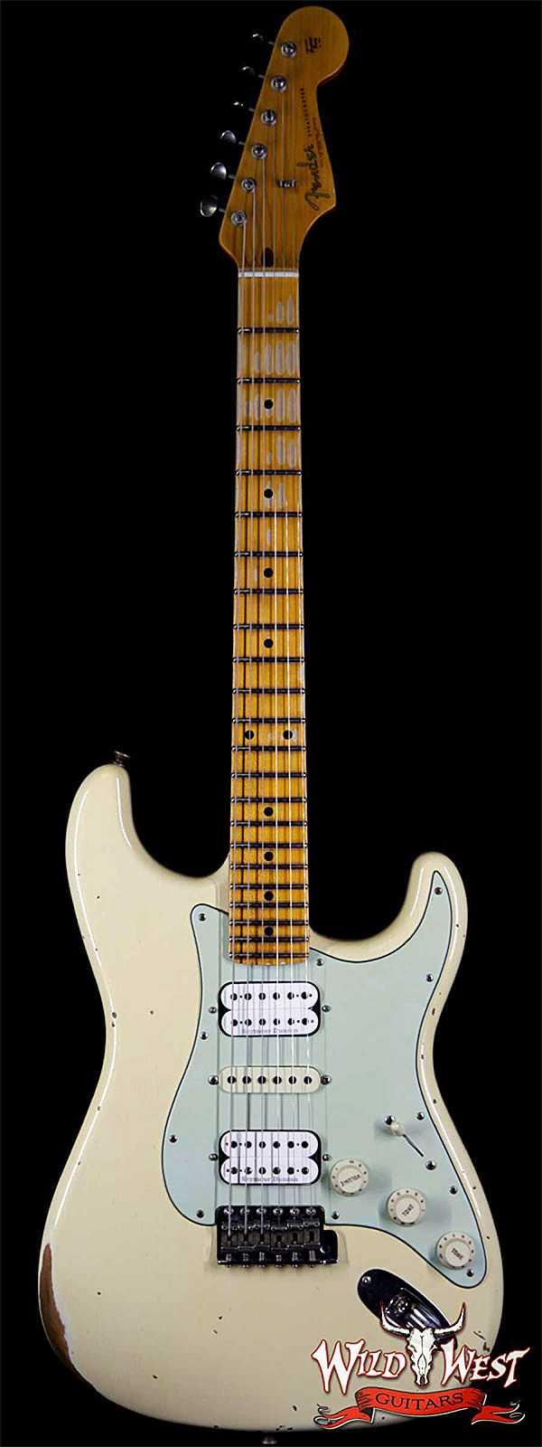 Fender Custom Shop 1961 Stratocaster Relic HSH Maple Neck Aged Vintage White