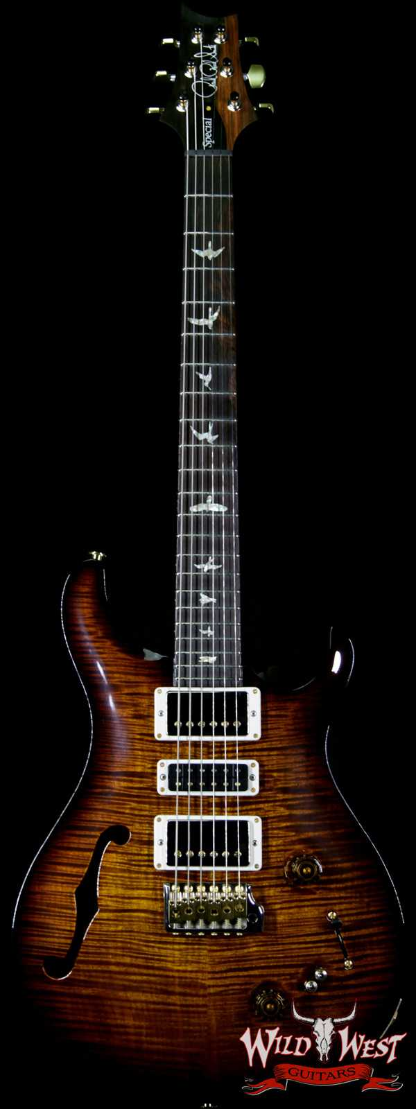 PRS Wood Library Flame 10 Top Special 22 Semi-Hollow Flame Maple Neck Brazilian Rosewood Board Black Gold Burst