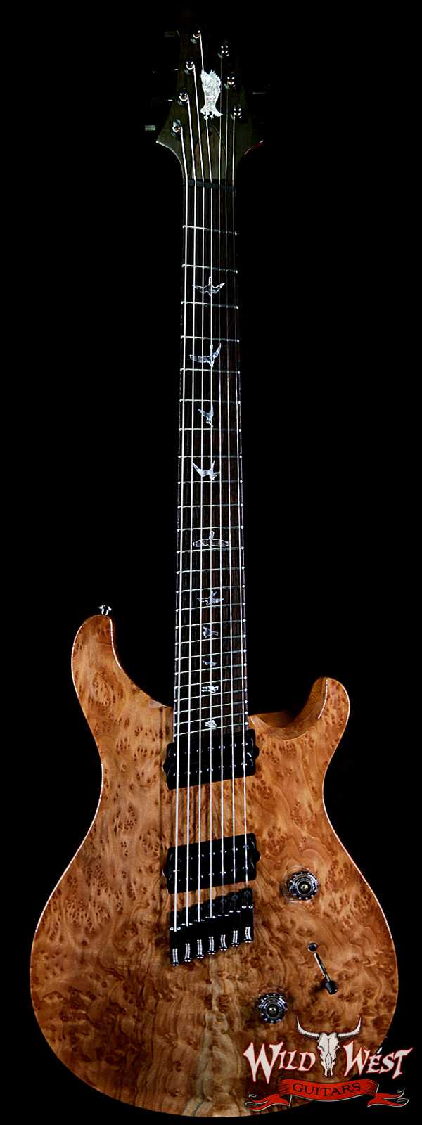 PRS Private Stock #7476 Custom 24 7-String Fanned Fret Redwood Burl Top Brazilian Rosewood Board Natural