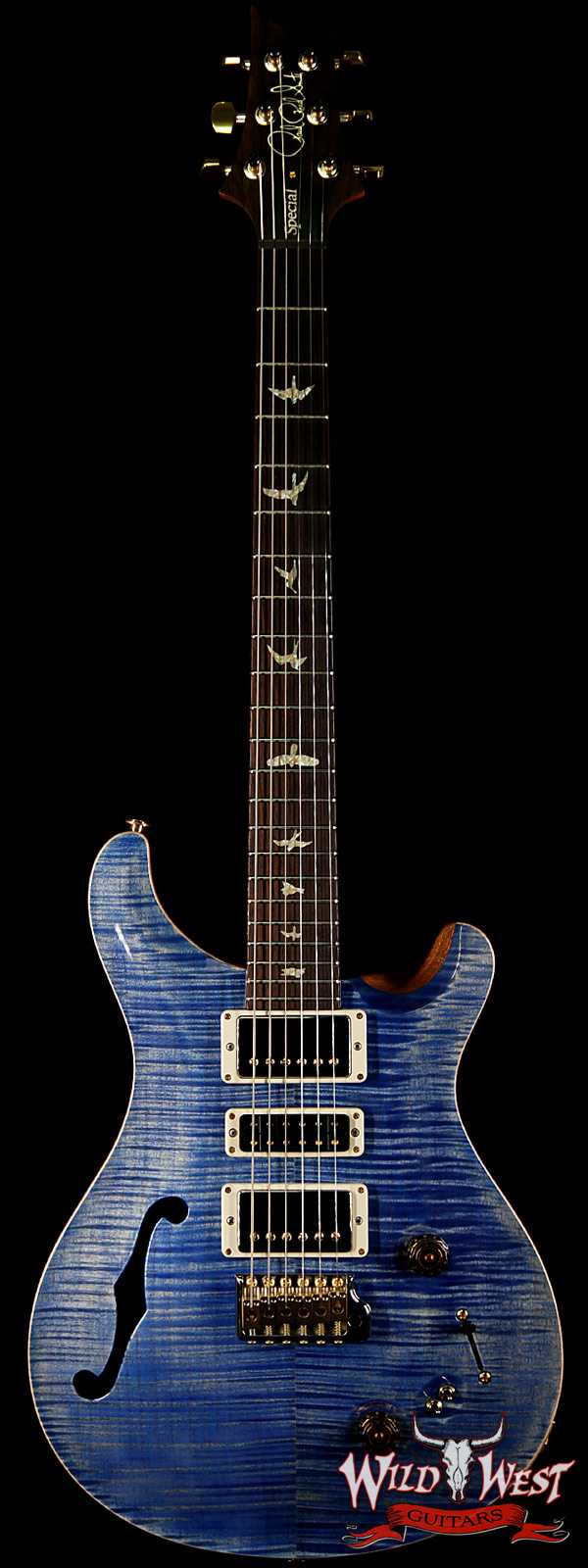 PRS Wood Library Flame 10 Top Limited Edition Special 22 Semi-Hollow Brazilian Rosewood Board Faded Blue Jean