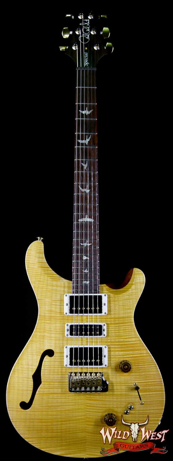 PRS Wood Library Flame 10 Top Limited Edition Special 22 Semi-Hollow Brazilian Rosewood Board Honey