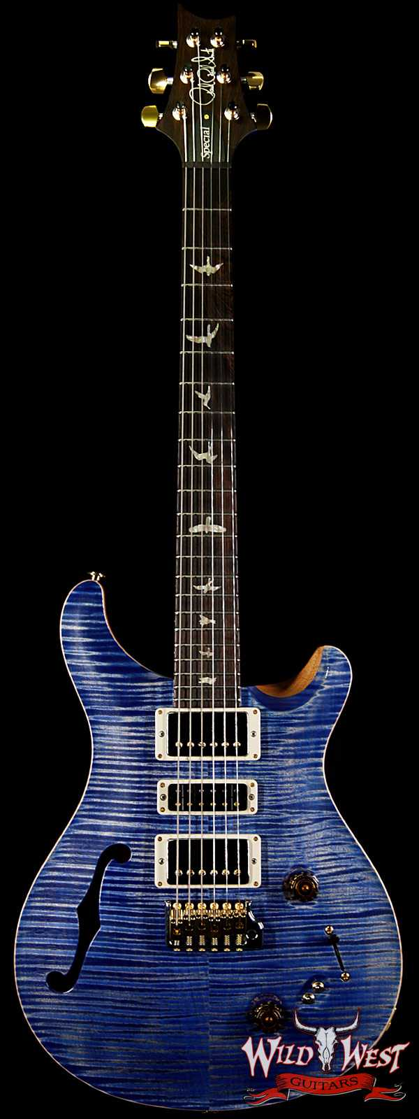 PRS Wood Library Flame 10 Top Special 22 Semi-Hollow Flame Maple Neck Brazilian Rosewood Board Faded Blue Jean