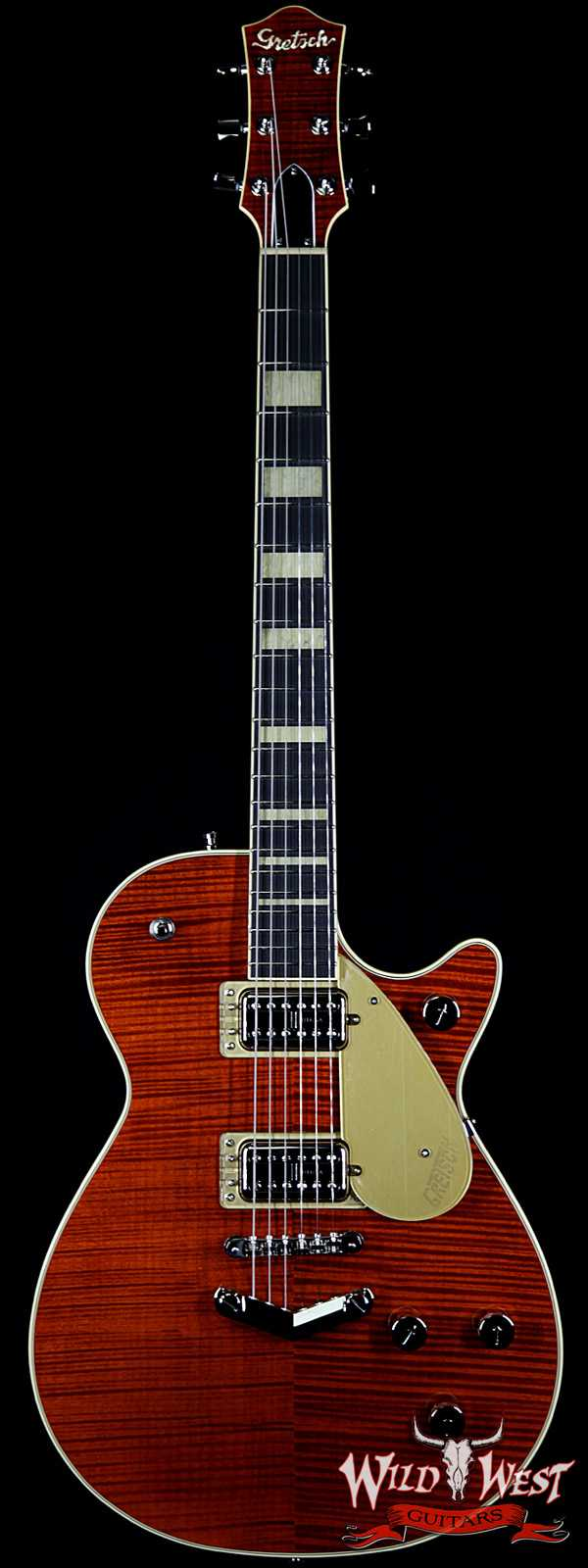 Gretsch G6228FM Players Edition Jet V-Stoptail Flame Maple Ebony Fingerboard Bourbon Stain