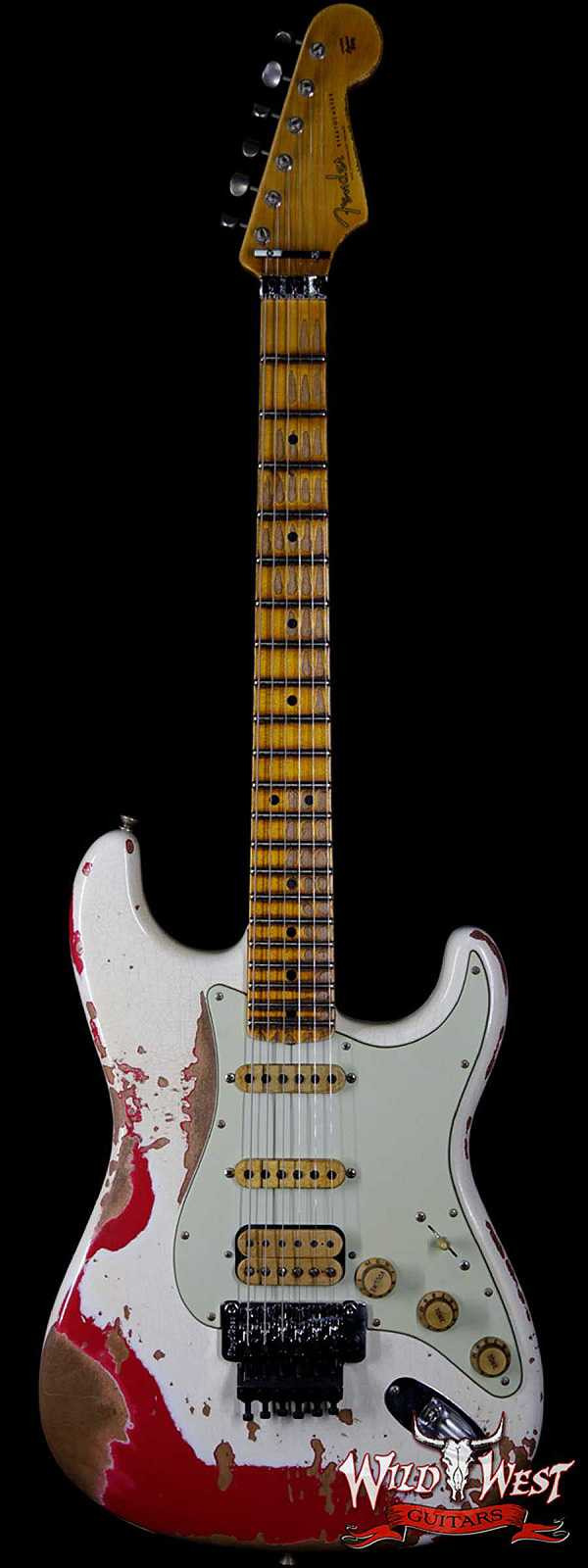 Fender Custom Shop Wild West Exclusive White Lightning Floyd Rose HSS Stratocaster Heavy Relic Maple Neck 21 Frets Torino Red