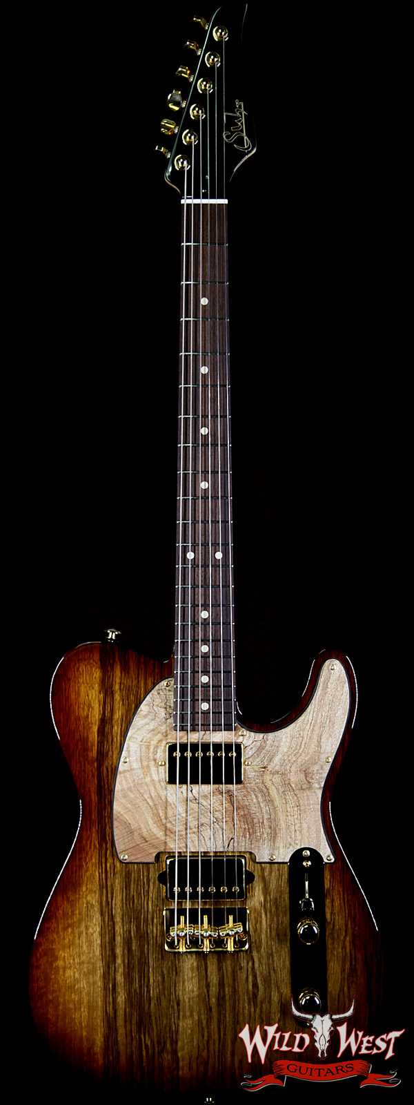 Suhr Custom Classic T HH Black Limba Body w/ Spalted Maple Pickguard Natural Burst