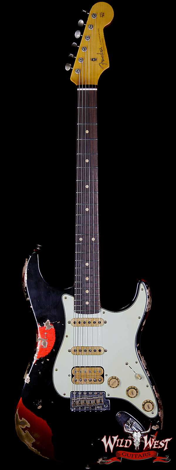 Fender Custom Shop Black Lightning Stratocaster Heavy Relic HSS Rosewood Board Candy Apple Red