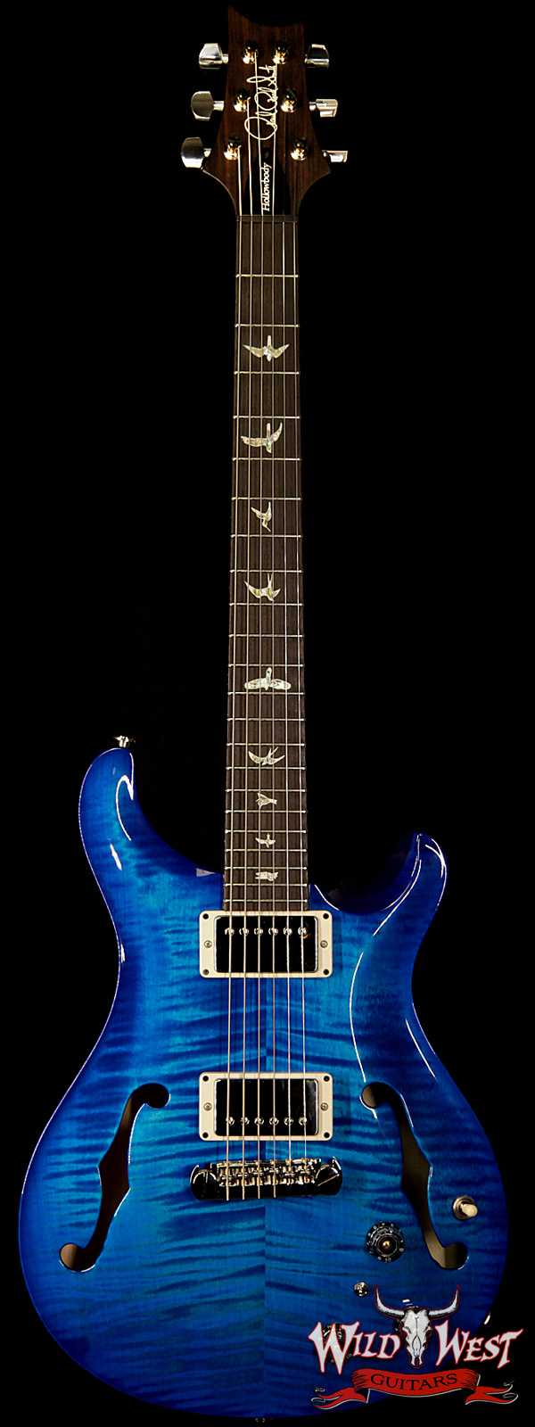 PRS HB2 Hollowbody II Piezo Flame Maple Top & Back Rosewood Fingerboard Faded Blue Wrap Burst