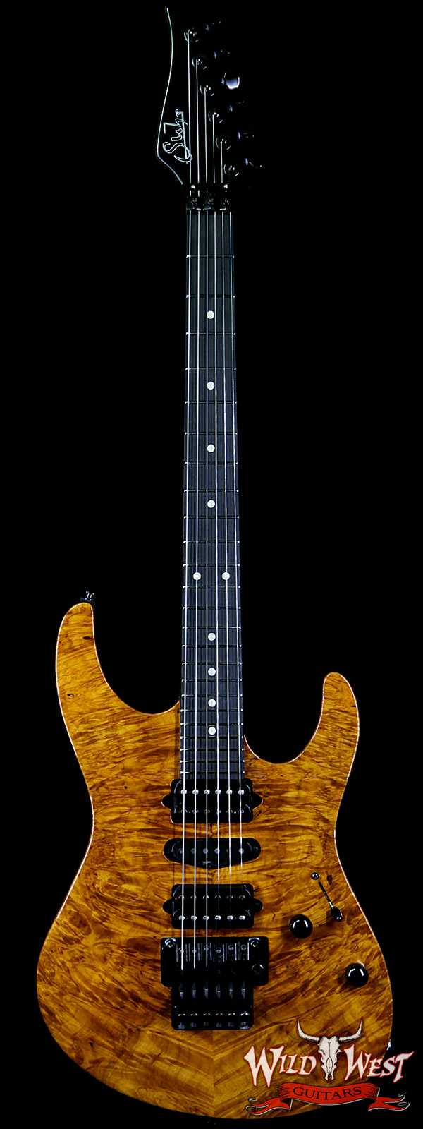 Suhr Modern HSH Floyd Reverse Head Hand Selected Spalted Maple Top Roasted Maple Neck Ebony Board Natural