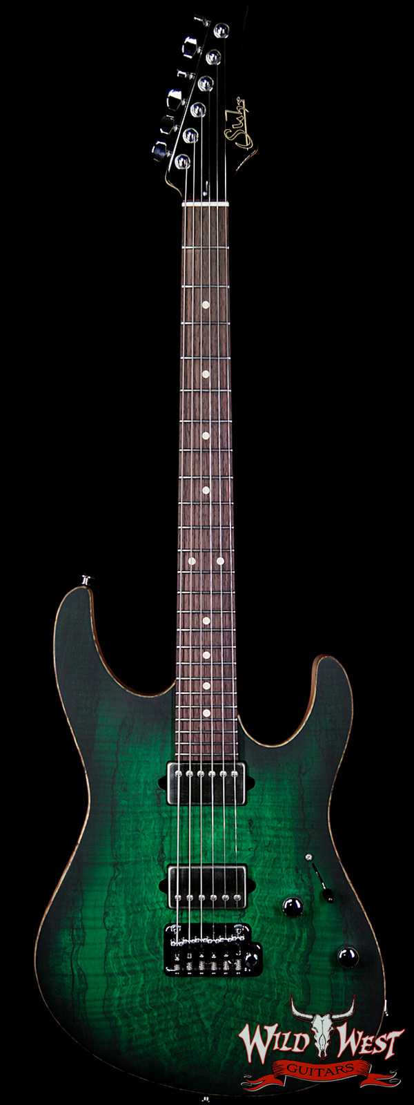 Suhr Modern HH Alder Body Spalted Maple Top Rosewood Fingerboard Trans Green Burst