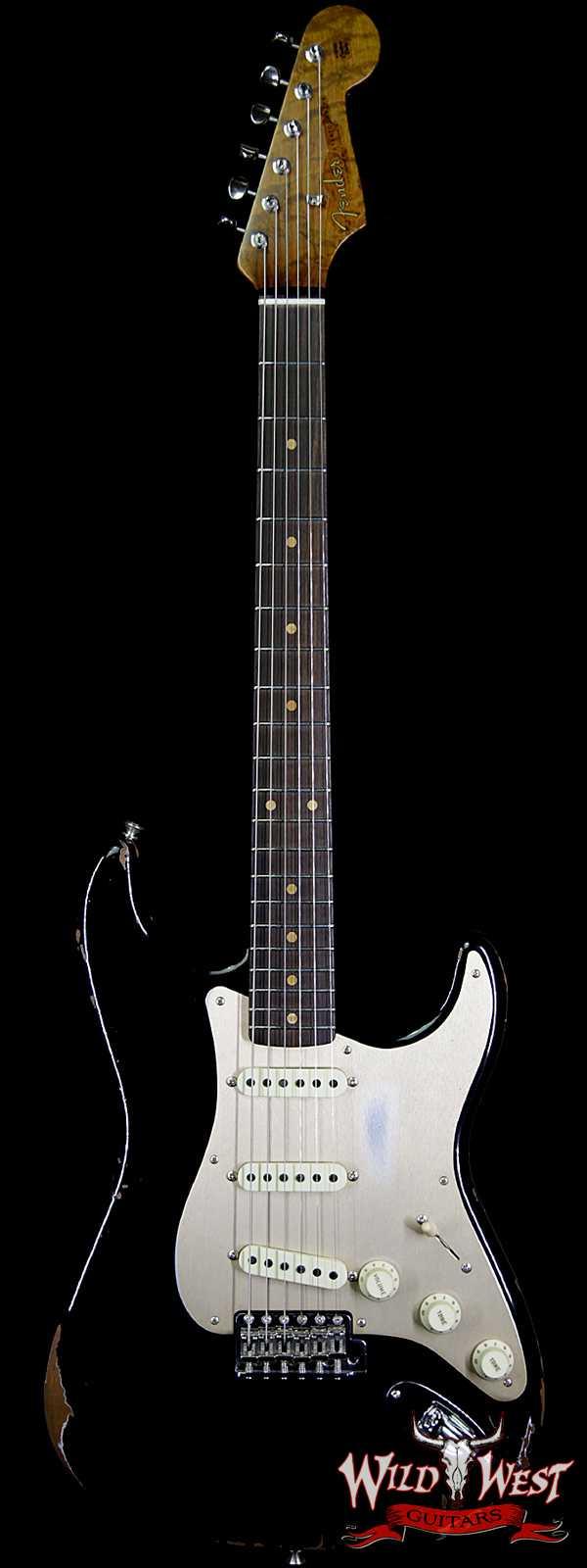 Fender Custom Shop 1960 Roasted Stratocaster Relic Birdseye Maple Neck Aged Black