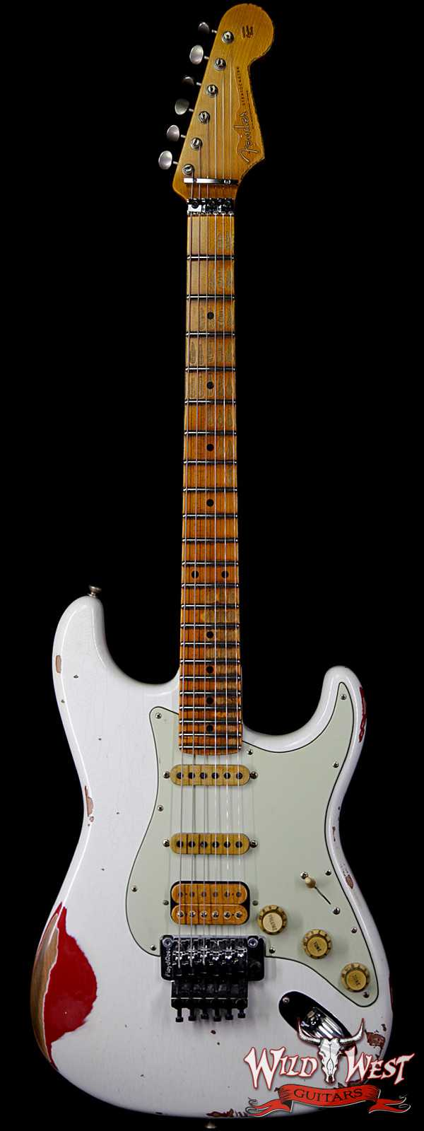 Fender Custom Shop White Lightning Straocastser Floyd Rose HSS Maple Neck 22 Frets Torino Red