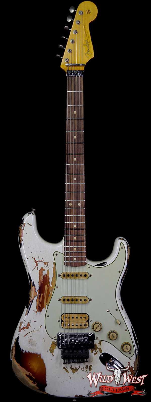 Fender Custom Shop White Lightning Stratocaster Floyd Rose HSS Rosewood Fretboard 3 Tone Sunburst